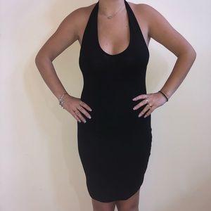 Black Backless Body-Con Dress w/ V-neck - S